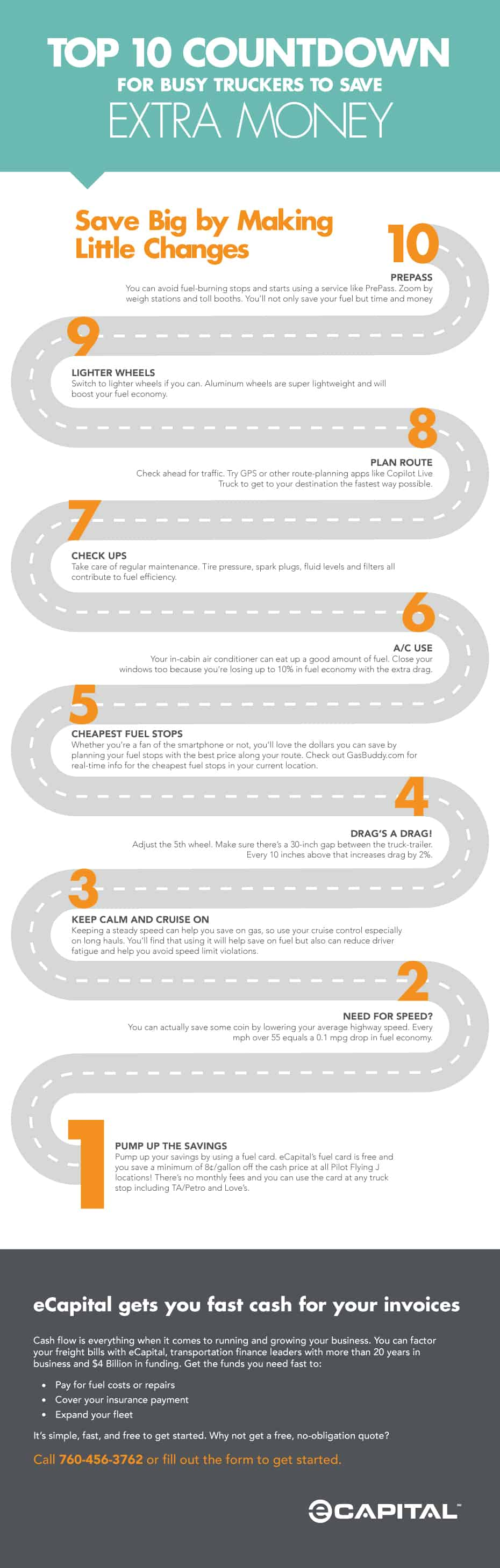 Top 10 Countdown for Busy Truckers Infographic